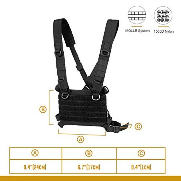 OneTigris Airsoft Tactical Vest 5 OneTigris ROC Chest Rig Tactical Modular Panel with Removable X Shoulder Strap and Mesh Backing