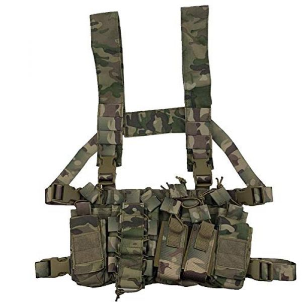 Shefure Airsoft Tactical Vest 4 Shefure Outdoor Hunting Vest Tactical MOLLE Triple Open-Top Mag Pouch Fast AK AR M4 FAMAS Mag Pouch with Shaped Suspender Shoulder Strap