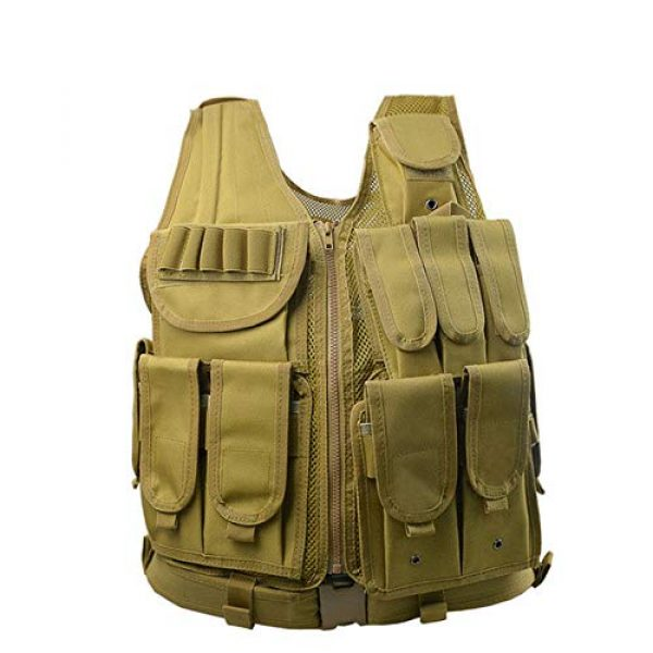 HHFC Airsoft Tactical Vest 1 HHFC Tactical Vest Military Airsoft Vest Adjustable Breathable Combat Training Vest for Outdoor Hunting, Fishing, Army Fans, Survival Game, Combat Training