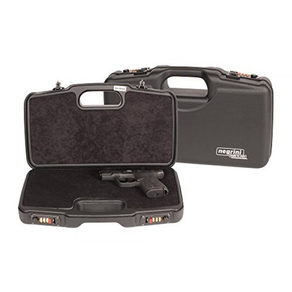 Negrini Cases Pistol Case 5 Negrini Cases 2018TS/4835 Compact Handgun Case for ABS 1 Gun W/Acc/Pluck-n-Pull Die Cut Foam, Black/Black