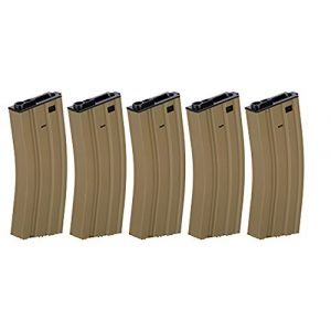 Lancer Tactical Airsoft Gun Magazine 1 Box of 5 - Gen2 LT-01B Metal M4/M16 300 Round Hi-Cap AEG Airsoft Magazine (Tan)
