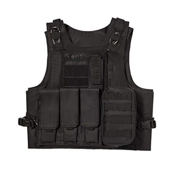Jipemtra Airsoft Tactical Vest 1 Jipemtra Tactical MOLLE Airsoft Vest Adjustable Paintball Combat Training Vest Detachable (Black)