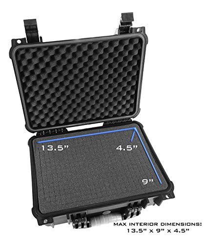 "CASEMATIX Pistol Case 5 CASEMATIX 16"" Customizable 4 Pistol Multiple Pistol Case - Waterproof & Shockproof Hard Gun Cases for Pistols, Magazines and Accessories - Multi Gun Case for Pistols with Two Layers of 2"" Thick Foam"