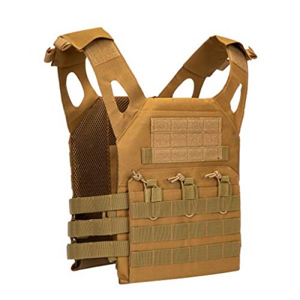 Jipemtra Airsoft Tactical Vest 1 Jipemtra Tactical Airsoft Vest for Kids Outdoor Molle Breathable JPC Vest Game Protective Vest Adjustable Modular Chest Set Vest CS Field Vest Training Vest (Tan #1)