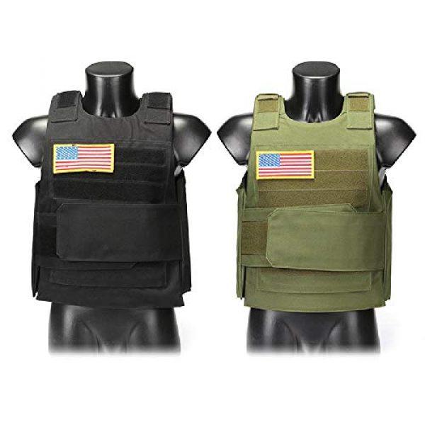 BGJ Airsoft Tactical Vest 4 Hunting Combat CS Vest Black Hawk Green Sports Vest Down Body Armor Plate Tactical Airsoft Carrier Vest CB Camo Woodland Outdoor