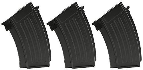 SportPro  1 SportPro CYMA 220 Round Metal Stubby High Capacity Magazine for AEG AK47 AK74 3 Pack Airsoft - Black
