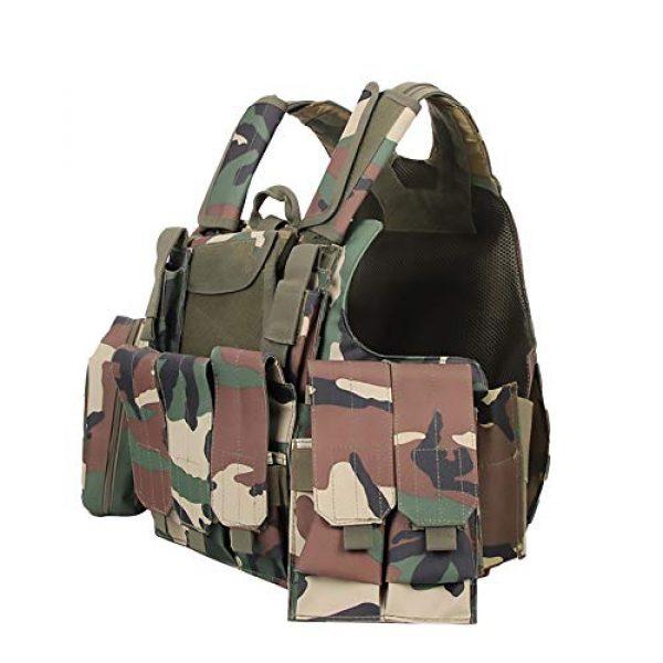 WEQ Airsoft Tactical Vest 1 WEQ Tactical Molle Airsoft Vest Paintball Combat Training Vest Adjustable (Color : Natural)