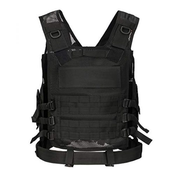 Jipemtra Airsoft Tactical Vest 2 Jipemtra Tactical MOLLE Airsoft Vest Adjustable Paintball Combat Training Vest Detachable for Hunting Mountaineering Outdoors (Black)