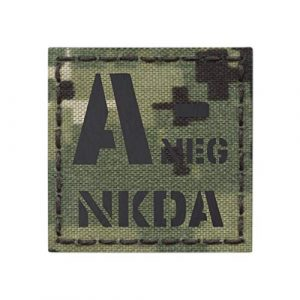 Tactical Freaky  1 IR ANEG NKDA A- AOR2 NWU Type III Blood Type 2x2 Infrared Tactical Morale Fastener Patch