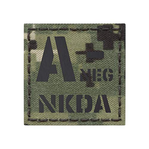 Tactical Freaky Airsoft Morale Patch 1 IR ANEG NKDA A- AOR2 NWU Type III Blood Type 2x2 Infrared Tactical Morale Fastener Patch