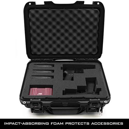 "CASEMATIX Pistol Case 3 CASEMATIX 18.5"" Hard Pistol Case with Lock Latches - Premium Hand Gun Cases for Pistols with TSA Approved Locking Latches, 9mm Lockable Pistol Case Hard Shell Carrier with Customizable Foam Interior"