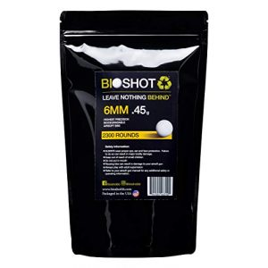 BioShot Airsoft BB 1 BioShot Biodegradable Airsoft BBS - .45g Super Slick Seamless Sniper Weight Competition Match Grade for All 6mm Airsoft Guns and Accessories (2300 Rounds, White)