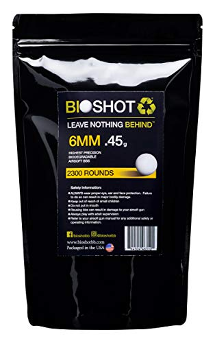 BioShot  1 BioShot Biodegradable Airsoft BBS - .45g Super Slick Seamless Sniper Weight Competition Match Grade for All 6mm Airsoft Guns and Accessories (2300 Rounds