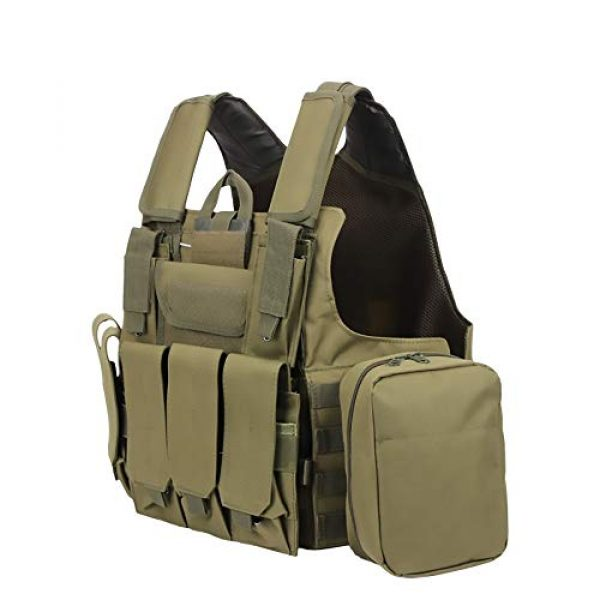 WEQ Airsoft Tactical Vest 1 WEQ Tactical Molle Airsoft Vest Paintball Combat Training Vest Adjustable (Color : Green)
