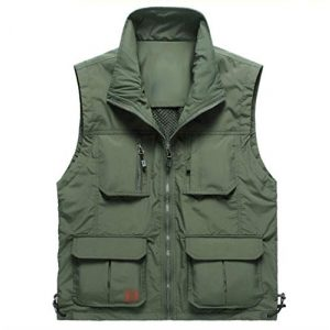 DAFREW Airsoft Tactical Vest 1 DAFREW Breathable Vest Middle-Aged mesh Vest Multi-Pocket Outdoor Leisure Fishing Thin Vest (Color : Army Green, Size : M)