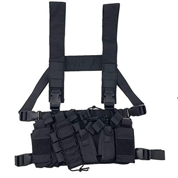 Shefure Airsoft Tactical Vest 6 Shefure Outdoor Hunting Vest Tactical MOLLE Triple Open-Top Mag Pouch Fast AK AR M4 FAMAS Mag Pouch with Shaped Suspender Shoulder Strap