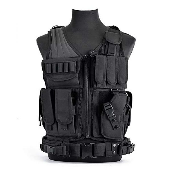 Moontie Airsoft Tactical Vest 2 Moontie Tactical Vest, Multi-Pocket SWAT Army CS Hunting Vest Camping Hiking Accessories Outdoor Hunting Hiking Camping Equipment