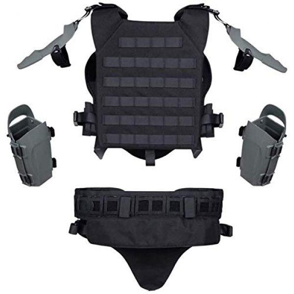 EBWLI Airsoft Tactical Vest 4 EBWLI Paintball Helmet and Armor Set, Hunting Paintball Protective Carrier Shooting Accessories with Waist Belt, for Airsoft/Nerf Game/Paintball,Black (Color : Gray)
