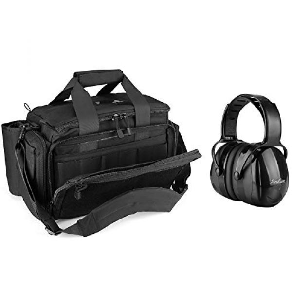 ProCase Pistol Case 1 ProCase Tactical Gun Range Bag Pistol Shooting Duffle Bag Bundle with Noise Reduction Safety Ear Muffs Headset SNR 36dB Earmuffs for Ear Hearing Protection