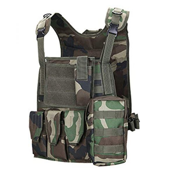Armiya Airsoft Tactical Vest 1 Mens Molle Tactical Chest Rig Law Enforcement Work Vest Combat Condor Security Training Tool Triple Pouch for Outdoor Paintball CS Game Airsoft Climbing Hiking