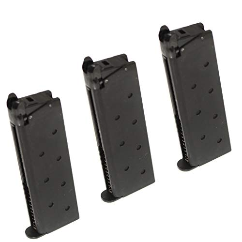 Generica  1 Generica Airsoft Spare Parts 3pcs 25rd Gas Mag Metal Magazine for M1911 Series GBB Pistol Black