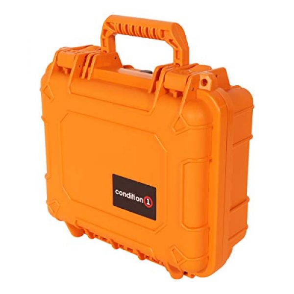"Condition 1 Pistol Case 5 Condition 1 Premium Dual Pistol Hard Case with Foam, Orange | 9"" x 7"" x 4"" 