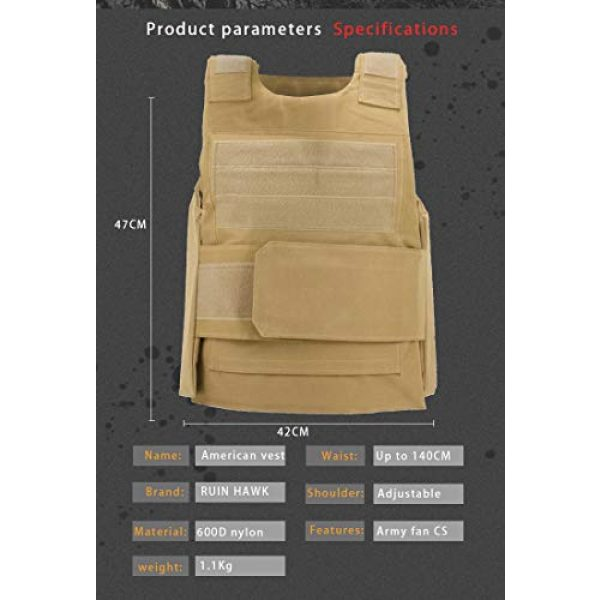 BGJ Airsoft Tactical Vest 7 Military Gear Tactical Vest Army Training Combat Men Plate Carrier Molle Vest Airsoft Paintball Body Armor Outdoor Hunting Vest