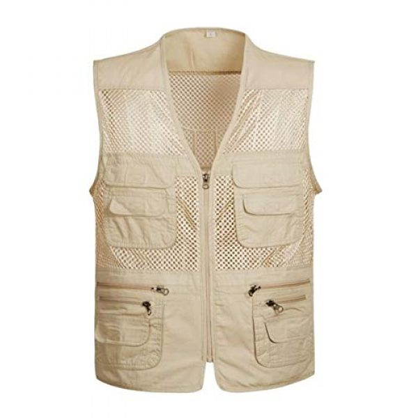 DAFREW Airsoft Tactical Vest 1 DAFREW Men's Vest Outdoor Leisure Fishing Vest Multi-Pocket Vest Breathable mesh Vest (Color : Beige, Size : XL)