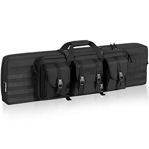 HUNTSEN  1 HUNTSEN Tactical Double Long Rifle Pistol Gun Bag Firearm Transportation Case Double Rifle Bag Outdoor Tactical Carbine Cases Water Dust Resistant Long Gun Case Bag