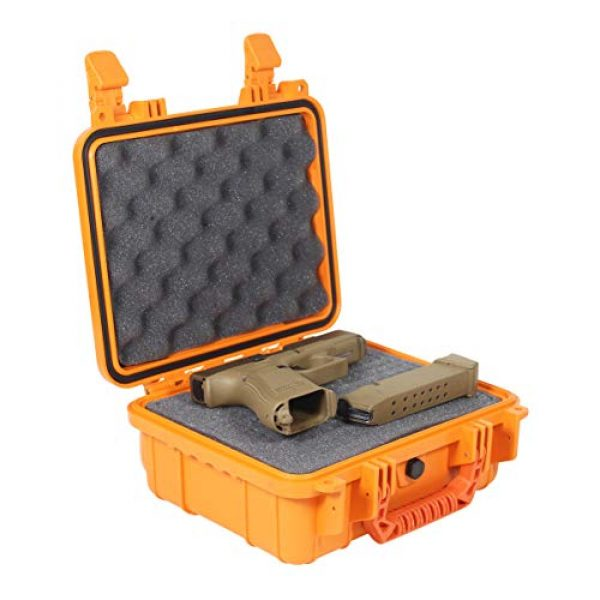 "Condition 1 Pistol Case 2 Condition 1 Premium Dual Pistol Hard Case with Foam, Orange | 9"" x 7"" x 4"" 