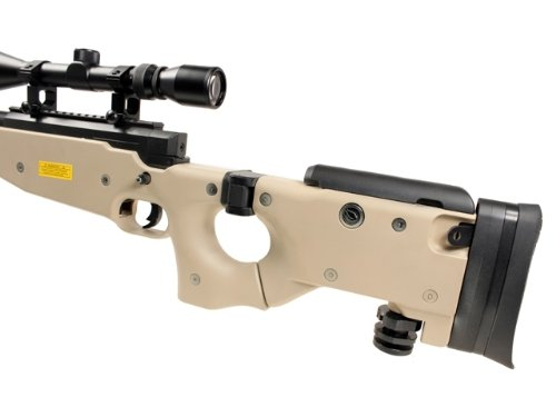 Well  4 Well l96 spring sniper airsoft rifle w/ bi-pod and scope (tan)(Airsoft Gun)