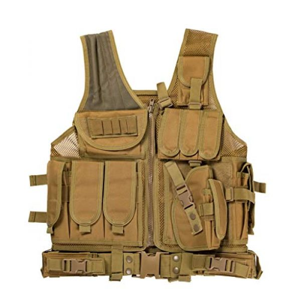 Jipemtra Airsoft Tactical Vest 1 Jipemtra Tactical MOLLE Airsoft Vest Adjustable Paintball Combat Training Vest Detachable for Hunting Mountaineering Outdoors (Tan)