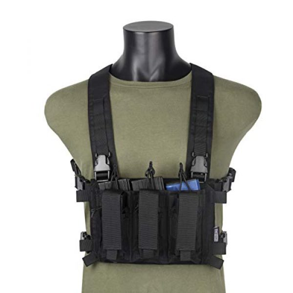OneTigris Airsoft Tactical Vest 1 OneTigris Mini Chest Rig & Triple Kangaroo Mag Pouch Tactical Placard 02 (Black)