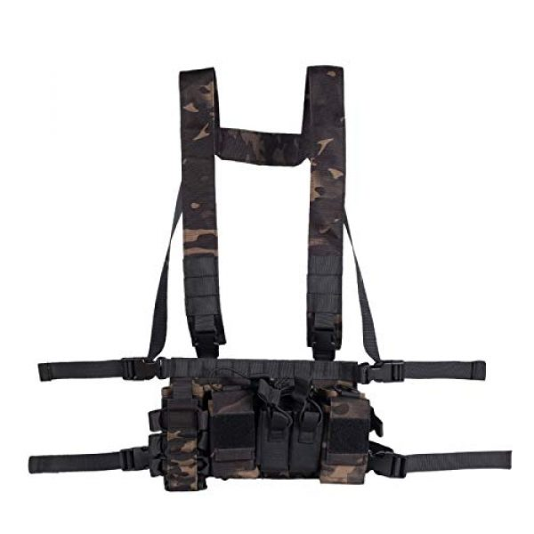 Armiya Airsoft Tactical Vest 1 Armiya Chest Rigs Tactical Airsoft, Molle Multifunction Paintball Rig Pistol Holster Harness Bag Vest for Men Shooting Hunting Training