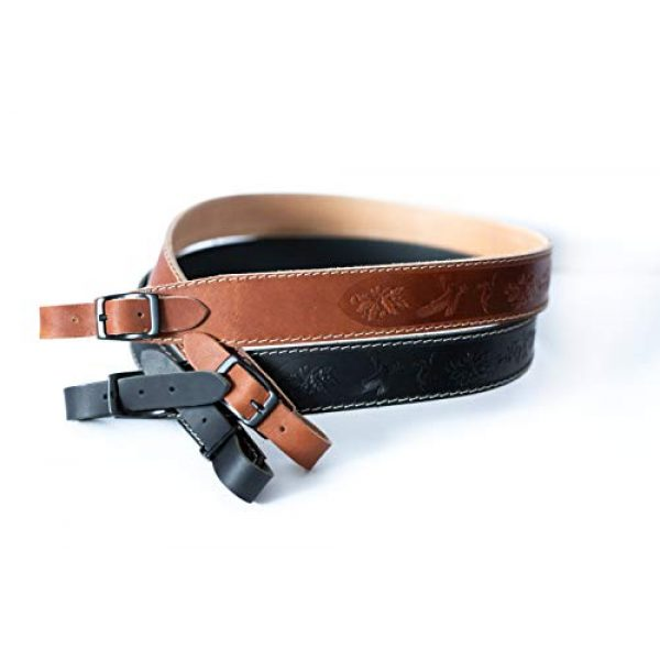 Lion Gear Airsoft Rifle Sling 1 Lion Gear Full-Grain Leather Rifle Sling Made in America and Stamped with Beautiful Hand-Carved Nature Images and Heavy Duty Buckles
