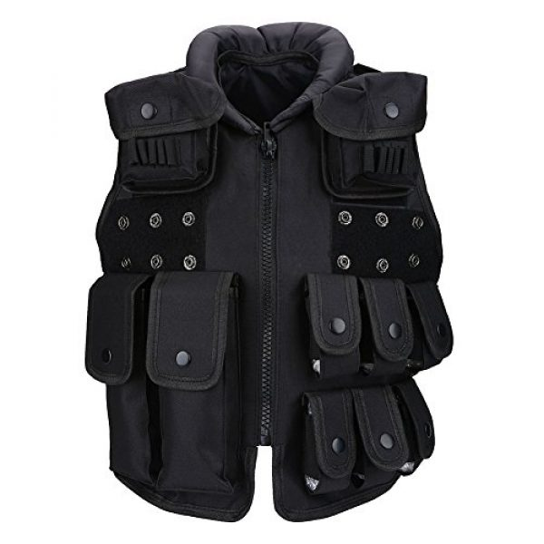 Yosoo Airsoft Tactical Vest 6 Yosoo Kids Tactical Vest, 600D Nylon Children Tactical Molle Vest Protective Jacket Vest Outdoor Military Army Combat Trainning Games Vest for Hunting Shooting Play