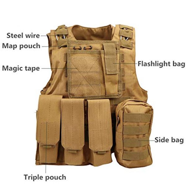 KIDYBELL Airsoft Tactical Vest 4 KIDYBELL Khaki Adjustable Airsoft Vest Lightweight Oxford Cloth Tactical Training Vest is Suitable for Outdoor Hunting Army Fan Combat Training Airsoft and Other Outdoor Sports