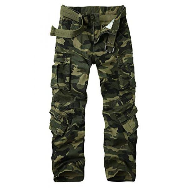 Alfiudad Tactical Pant 1 Men's Military Tactical Pants Casual Cotton Army Camo Combat Cargo Work Pants BDU Trousers with 8 Pockets
