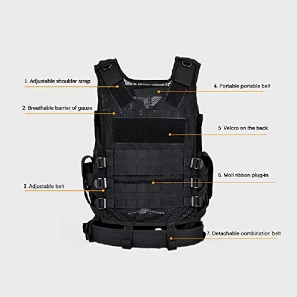 BGJ Airsoft Tactical Vest 7 Outdoor Multi-Pocket Swat Army CS Hunting Vest for Hunting Tactical Body Armor Games Paintball Airsoft Vest Military Equipment