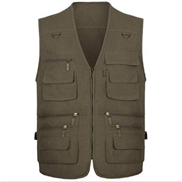 DAFREW Airsoft Tactical Vest 1 DAFREW Men's Vest Spring and Autumn Outdoor Vest Fishing Vest Cotton Custom Multi-Pocket Vest (Color : Deep Khaki, Size : L)