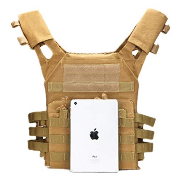 Jipemtra Airsoft Tactical Vest 6 Jipemtra Tactical Airsoft Vest for Kids Outdoor Molle Breathable JPC Vest Game Protective Vest Adjustable Modular Chest Set Vest CS Field Vest Training Vest (Tan #1)