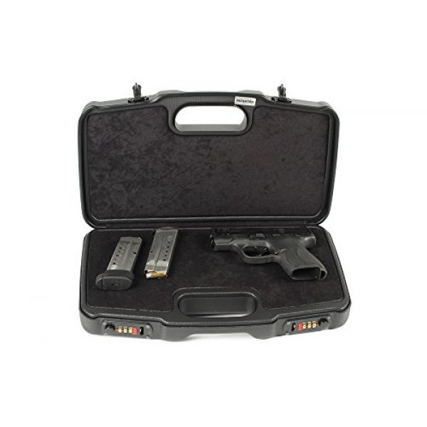 Negrini Cases Pistol Case 1 Negrini Cases 2018TS/4835 Compact Handgun Case for ABS 1 Gun W/Acc/Pluck-n-Pull Die Cut Foam, Black/Black