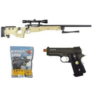 Well Airsoft Rifle 1 Well bolt action sniper airsoft rifle we metal gas CO2 blowback gun 5,000 bb's(Airsoft Gun)