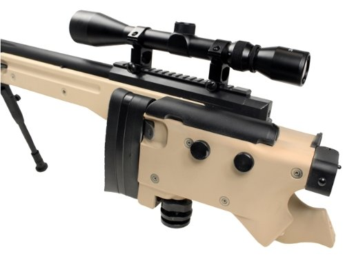 Well  5 Well l96 spring sniper airsoft rifle w/ bi-pod and scope (tan)(Airsoft Gun)
