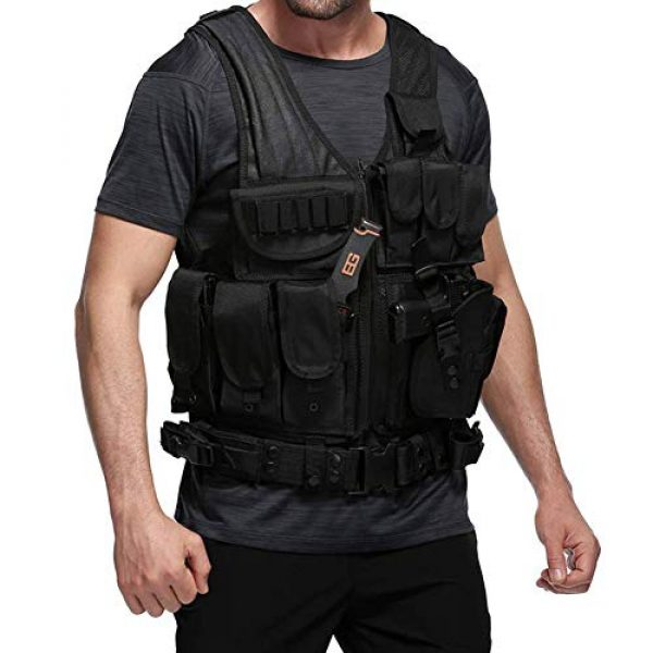 WWahuayuan Airsoft Tactical Vest 7 WWahuayuan Adjustable Tactical Vest Trainning Tactical Airsoft Paintball Ultralight Breathable Combat Training Vest for Adults 600D Encryption Polyester-VT-1063