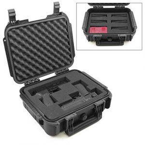 "CASEMATIX Pistol Case 1 CASEMATIX 14"" Two Gun Hard Case for 2 Handguns - Waterproof & Shockproof 2 Pistol Hard Case, Double Handgun Case with Accessory Storage for Multiple Magazines, Ammo Box and Other Accessories"
