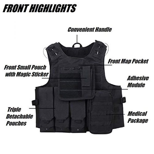 HYCOPROT Airsoft Tactical Vest 2 HYCOPROT Tactical Vest, 1000D Oxford Adjustable Military Airsoft Vest with Multipurpose Pouches for Paintball, Combat, Training, Outdoor, Shooting, Hunting