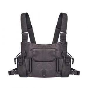 DETECH Airsoft Tactical Vest 1 DETECH Black Camouflage Hunting Radio Harness Chest Rig Front Pack Pouch Holster Vest Rig for Two Way Radio