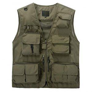 DAFREW Airsoft Tactical Vest 1 DAFREW Casual Vest Outdoor Photography Vest Four Seasons Fishing Travel Vest Grid Vest (Color : Khaki, Size : L)