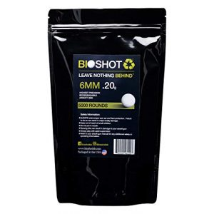 BioShot Airsoft BB 1 BioShot Biodegradable Airsoft BBS - .20g Super Slick Seamless Competition Match Grade for All 6mm Airsoft Guns and Accessories (5000 Rounds, White)
